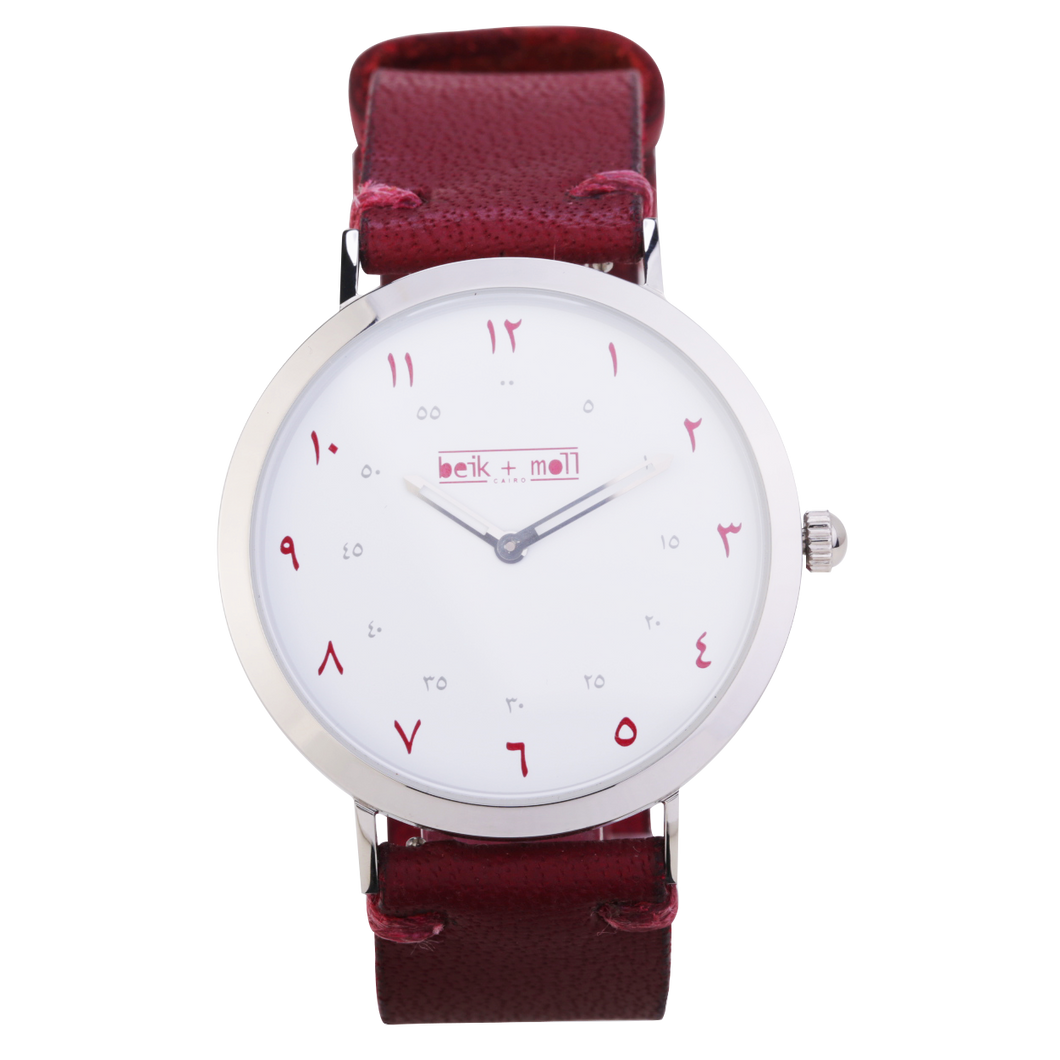 Beik & Moll Silver Case + Maroon Leather Strap + Silver Mesh Strap