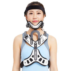 Medical Cervical Vertebra Tractor Traction Neck Support Brace - Head Neck & Chest Correction Device