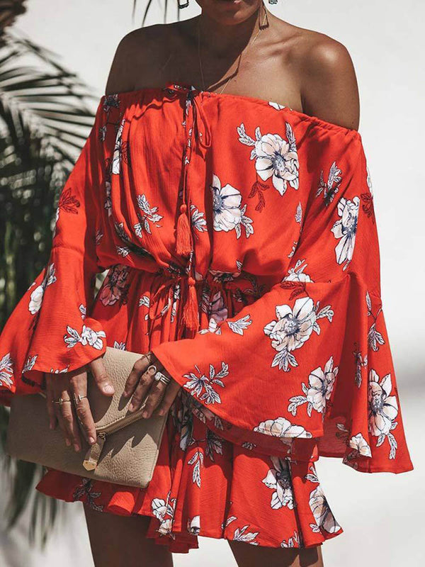Red Flowers Printed Off Shoulder Mini Dress