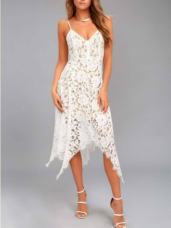 One Wish Lace Midi Dress White