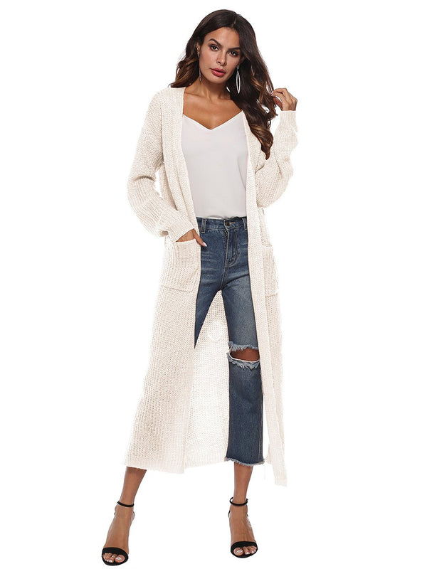 Open Front Long Sleeves Pocketed Knitted Cardigan Coat