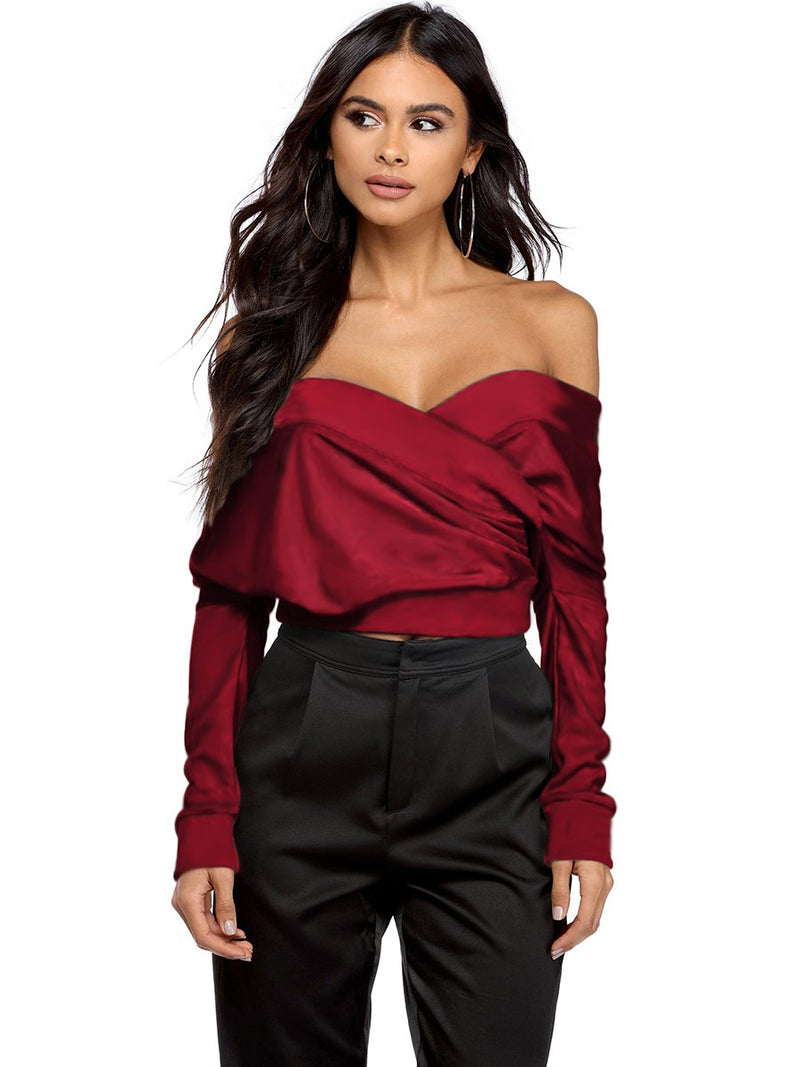 Red Half Sleeve Plain Sexy Off Shoulder Top