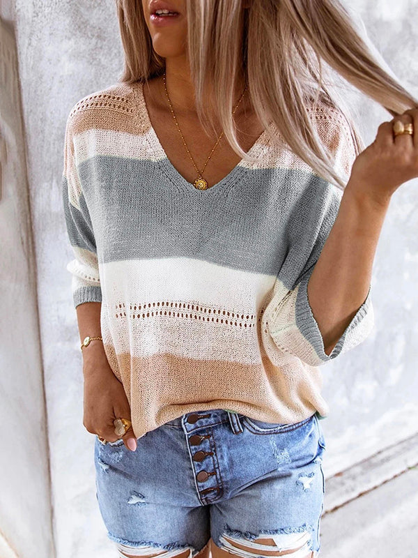 V Neck 3/4 Sleeve Knit T-shirt Tops