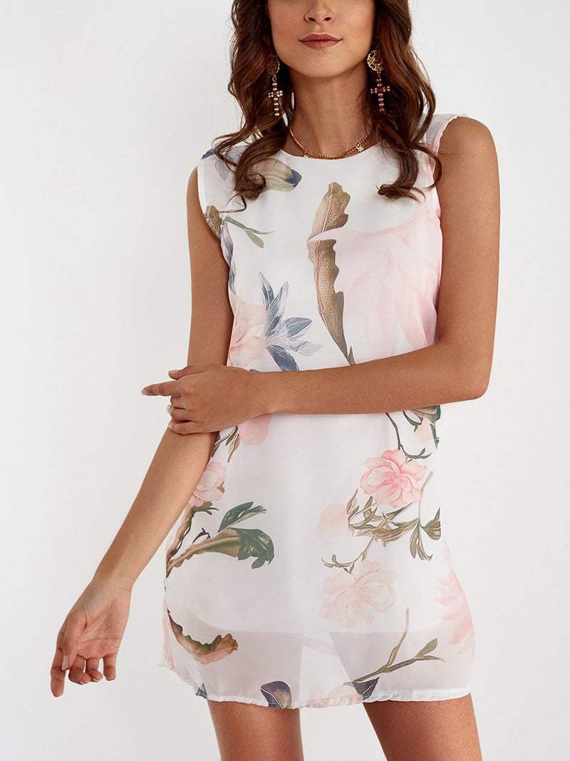 Random Floral Print Mini Dress - Landing Closet