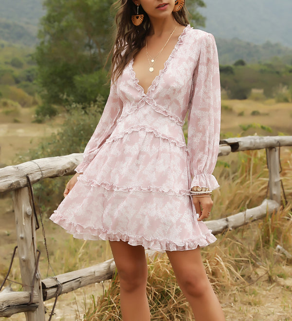 Deep V Neck Long Sleeve Floral Mini Dress