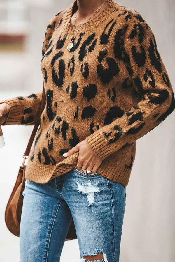 Leopard Printed Knit Sweater