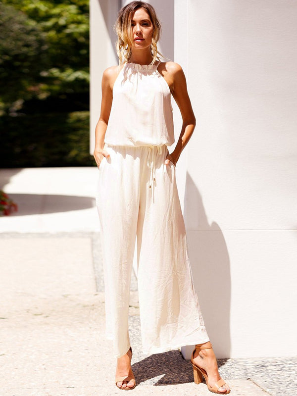 White Halter Neck Sleeveless Drawstring Waist Jumpsuit