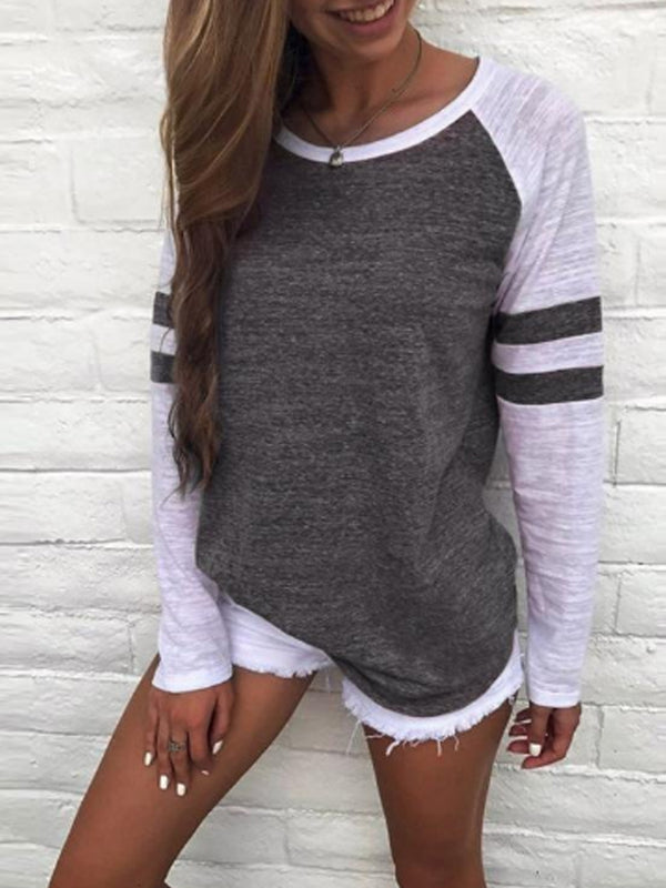 Stripe Colorblock Round Neck Raglan Sleeves T-shirts