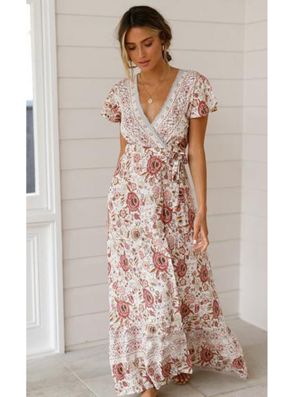 Floral V-neck Short Sleeve Maxi Dress