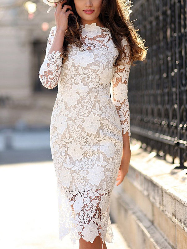 Floral Lace Bodycon Dress - Landing Closet