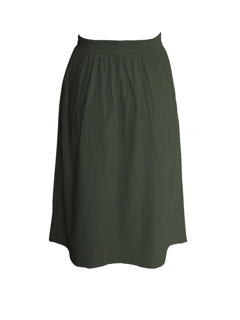 A-lined Buttons Knee Length Midi Skirt with Pockets - Landing Closet
