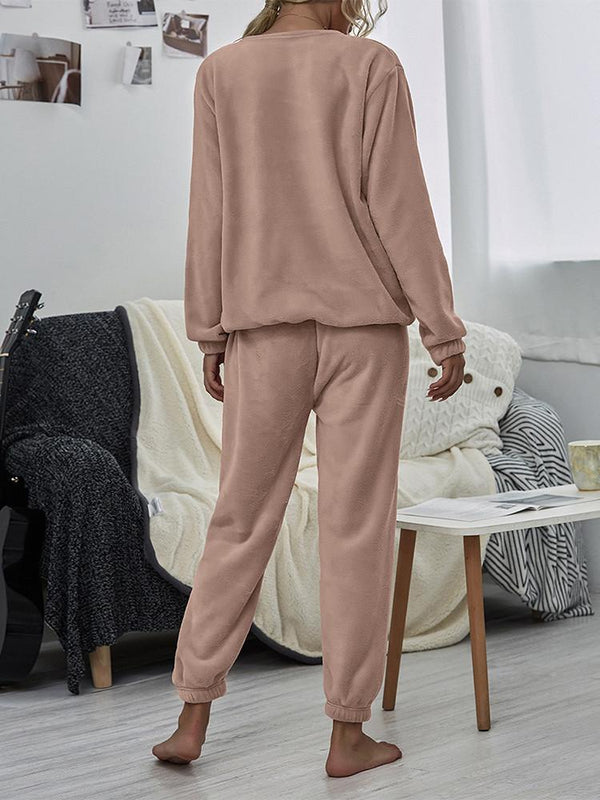 Velvet Solid Loose Homewear Winter Two-piece