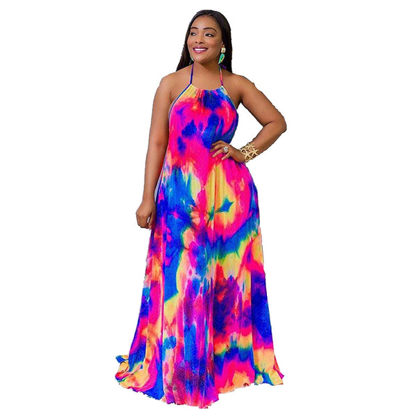 Tie Dye Spaghetti Strap Long Dress