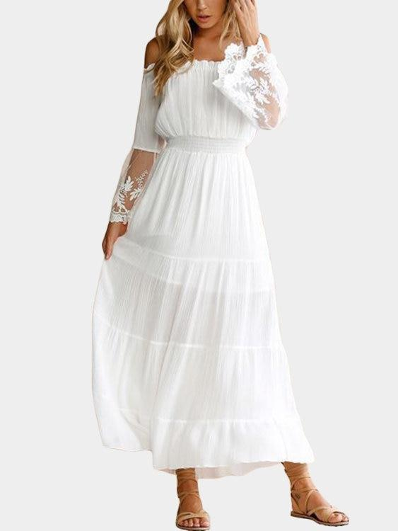 White Lace Details Off The Shoulder Flared Sleeves Maxi Dress