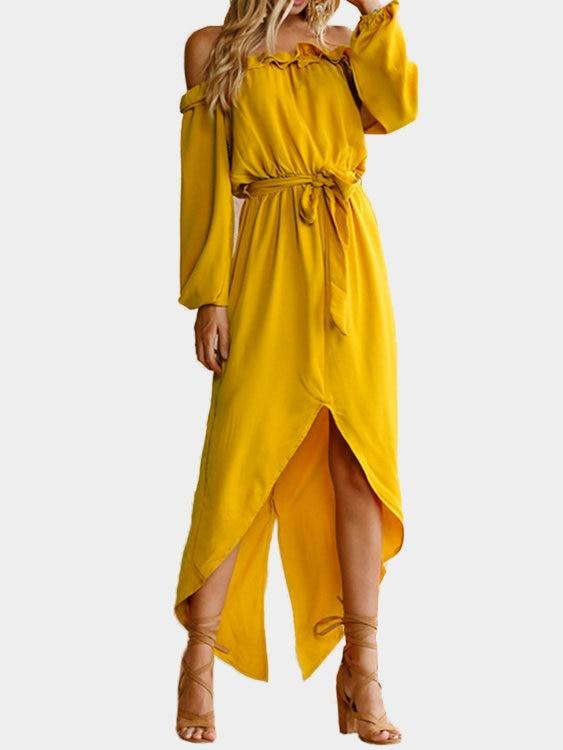 Yellow Off The Shoulder Long Sleeves Split Hem Maxi Dress with Belt