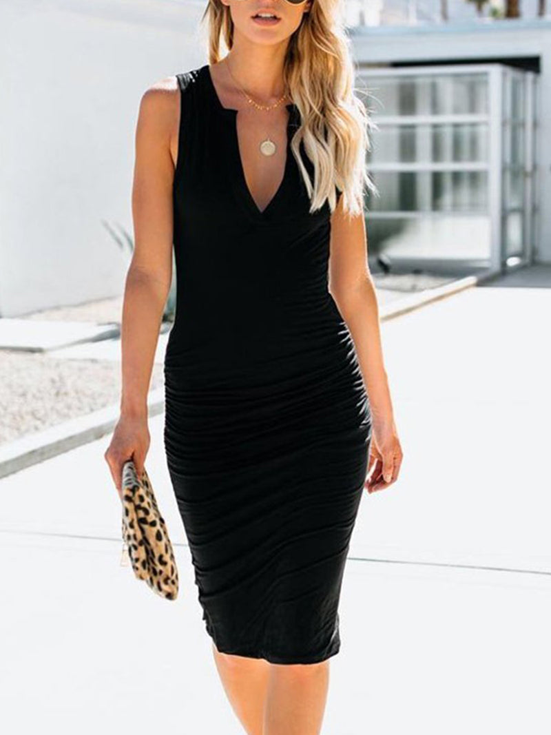 Grey Bodycon Deep V-neck Midi Dress