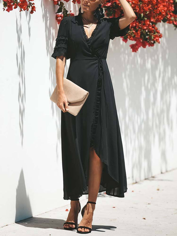 Half Sleeve Office V-neck Professional Women Maxi Dress
