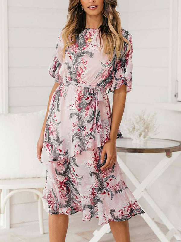 Ladies Short Sleeve Floral Printed Midi Dress