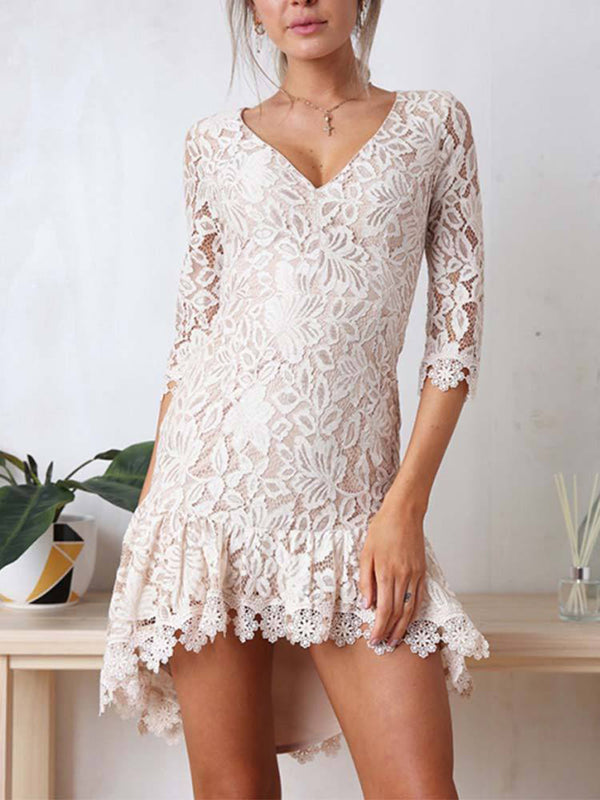 Women's Lace V-neck Mini Dress