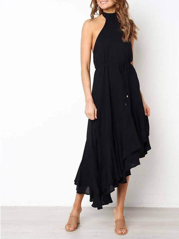 Backless Irregular Hem Granada Midi Dress - Landing Closet