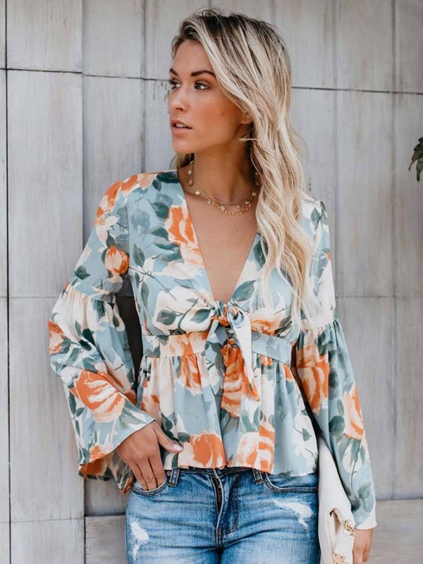 Long Sleeve Floral Deep V-neck Irregular Hem Blouse - Landing Closet