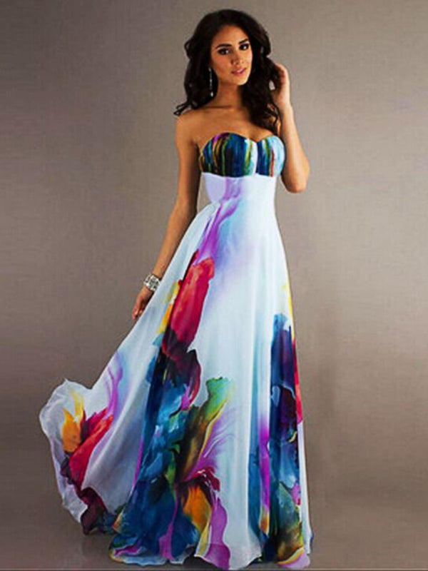 Strapless Off shoulder Floral Long Maxi Dress