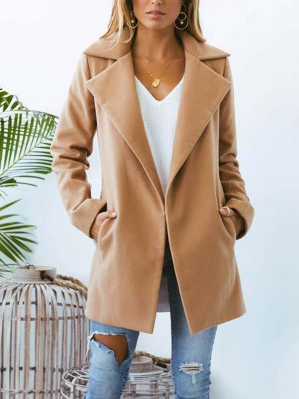 Fashion Spring Pocket Teina Coat Camel - Landing Closet