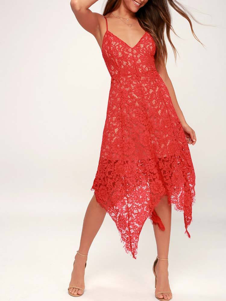 One Wish Lace Midi Dress Red