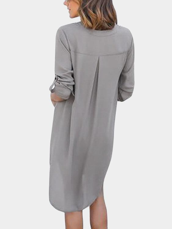 Grey V-neck Long Sleeves Irregular hem Chiffon Dress - Landing Closet