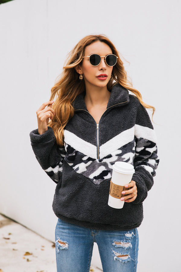 Long Sleeve Zipper Sherpa Sweatshirt Pullover