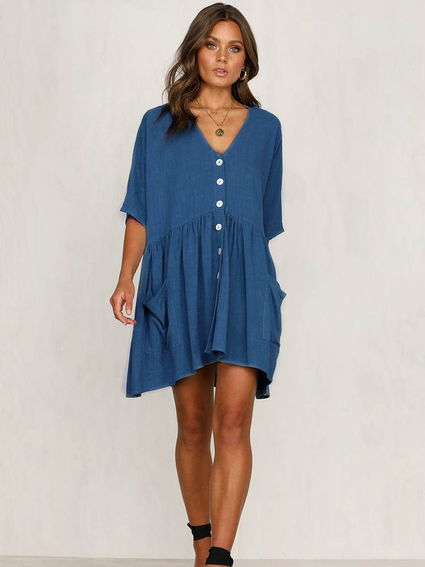 V-neck Pocketed Button Mini Dress