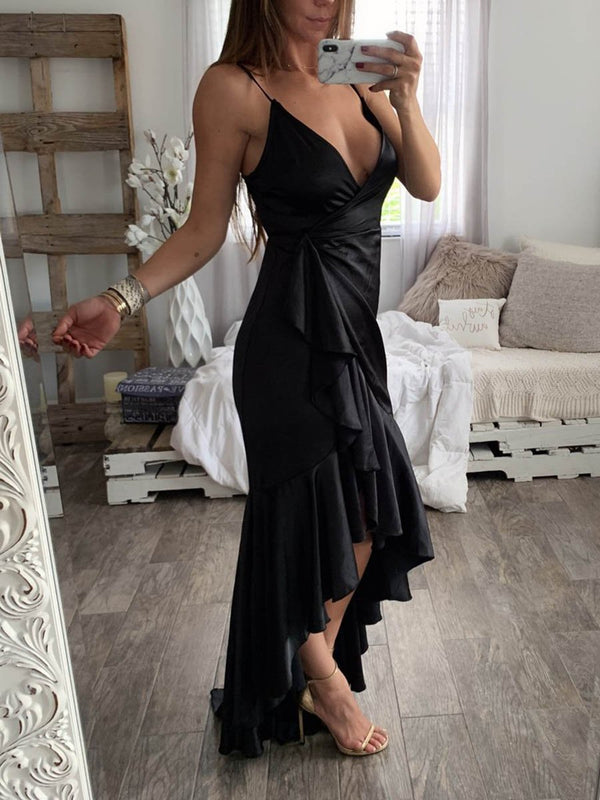 Party Sexy Halter V-neck Irregular Hem Maxi Dress