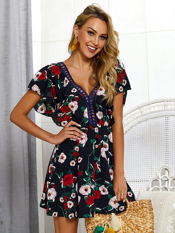 Backless V-neck Floral Short Sleeves Mini Dress - Landing Closet