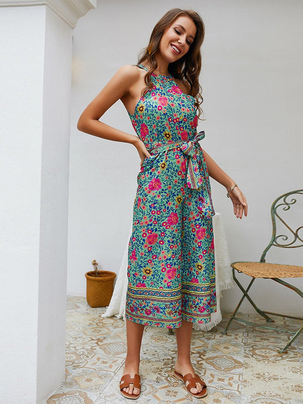 Off Shoulder Floral Waist Belt Loose Midi Jumpsuit