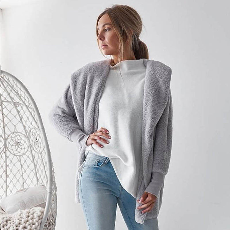 Long Sleeve Plain Hooded Sweater