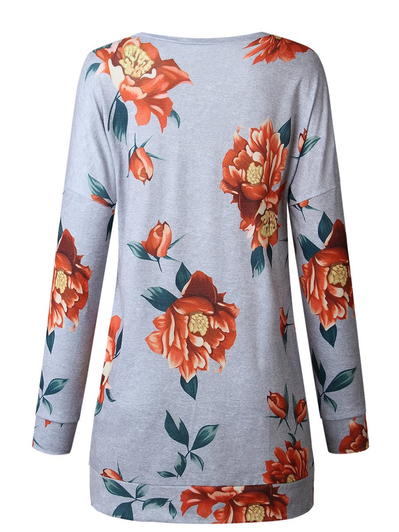 Floral Printed V-neck Long Sleeves Side Slit Pullover Top