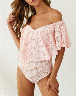 Off Shoulder Ruffled Lace Bodysuit
