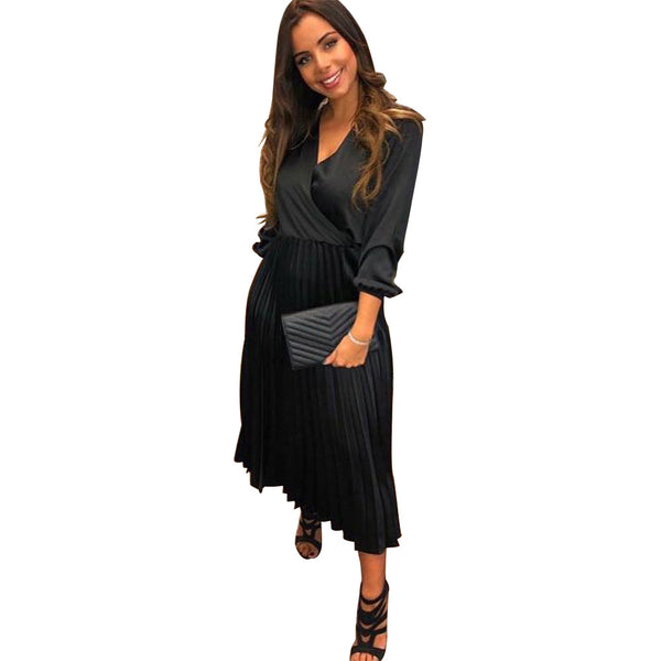 Long Sleeve Bust Wrap Ruffle Long Dress