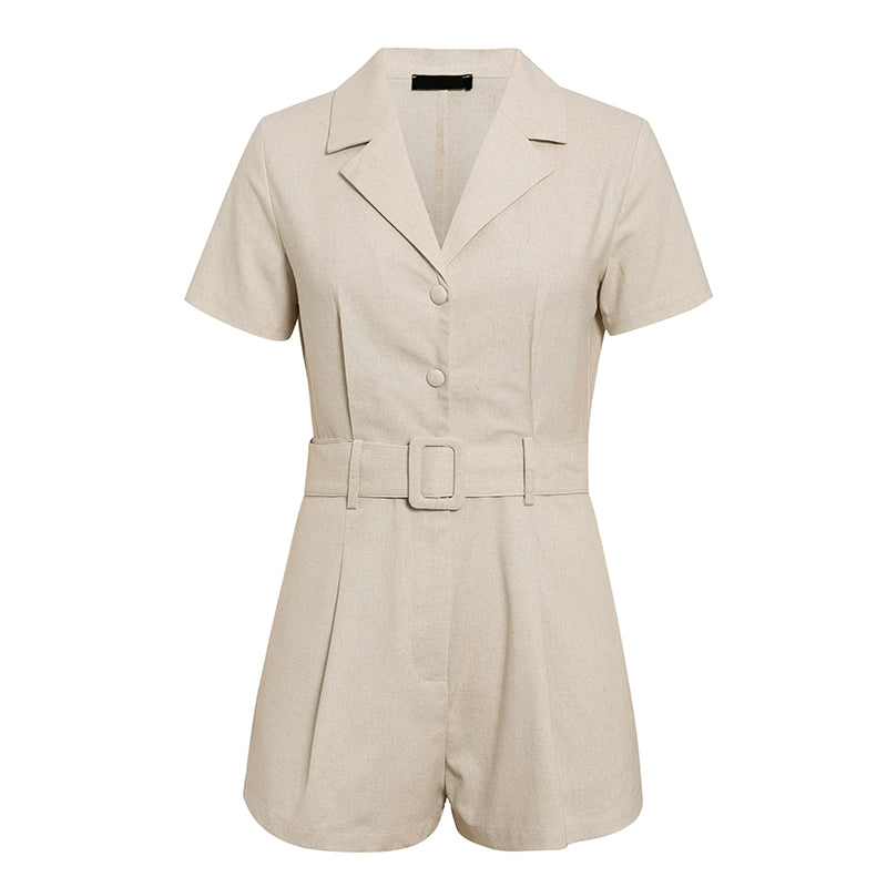 Suit Collar Short Sleeve Shorts Jumpsuit