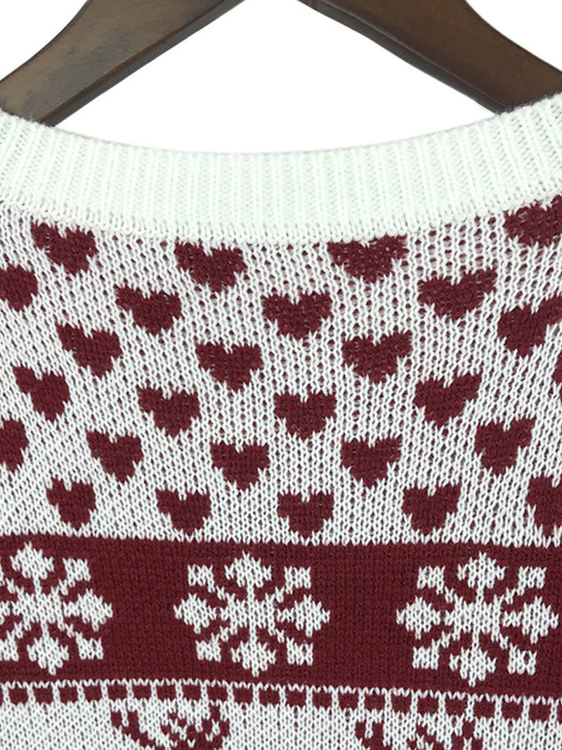 Long Sleeves Elk Snowflake Knitted Pullover Sweater