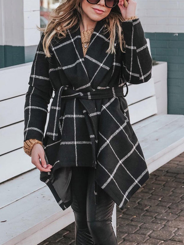 Women's Loose Plaid Woolen Coat