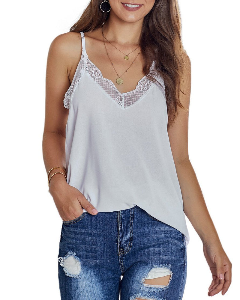 Lace V Neck Cami Top (5 Colors)