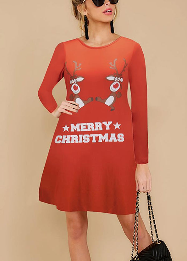 Christmas Casual Long Sleeve Printed Dresses