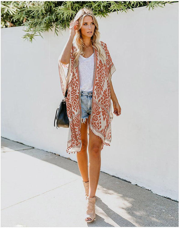 Fashion Kimono Tassel Beach Cover up
