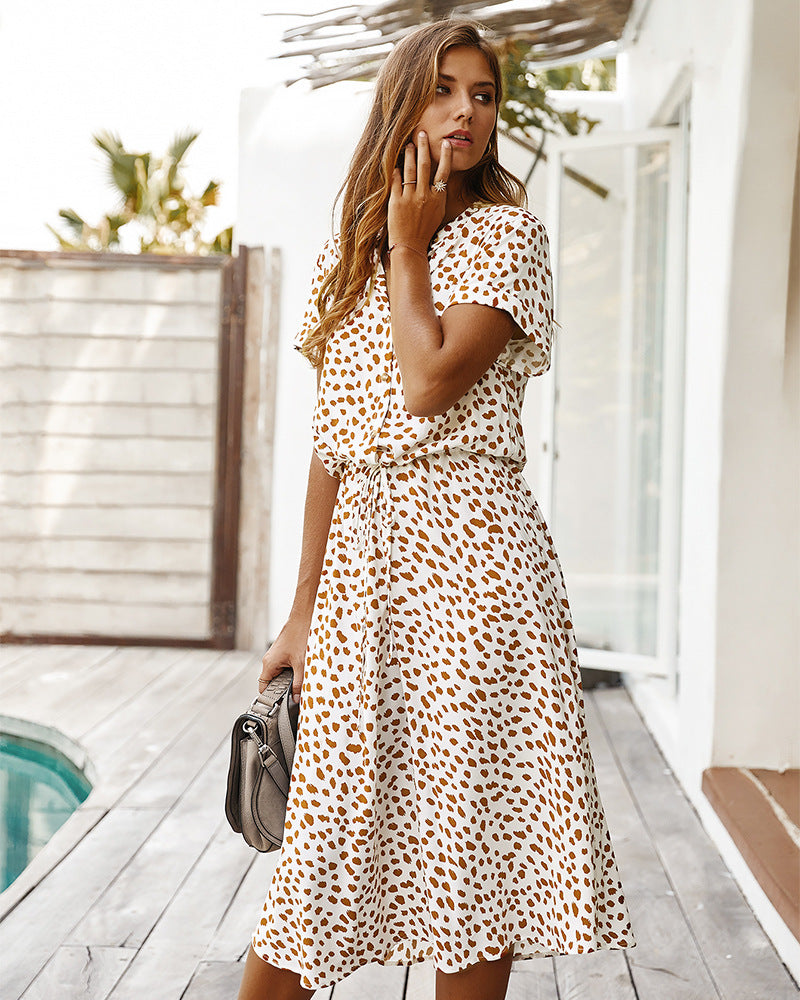 Leopard Floral V-Neck Midi Dress