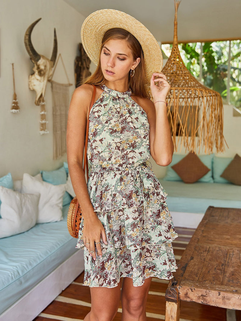 Strapless Halter Ruffle Floral Dresses