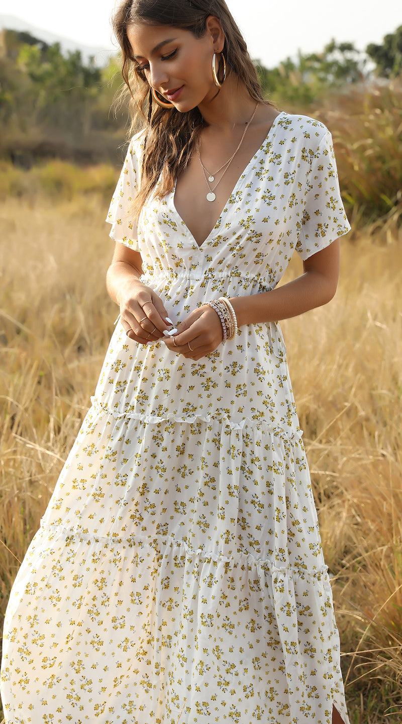 Summer Floral Print Ruffles Boho Maxi Dress