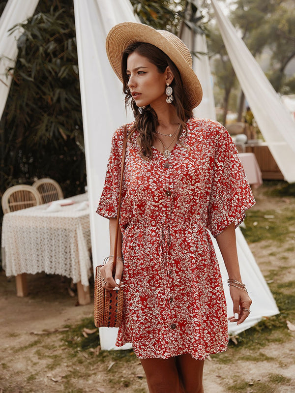 Floral V-neck Half Sleeve Mini Dress