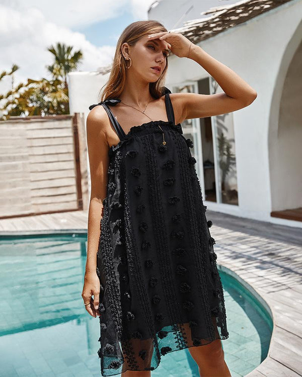 Spaghetti Strap Lace Midi Dress