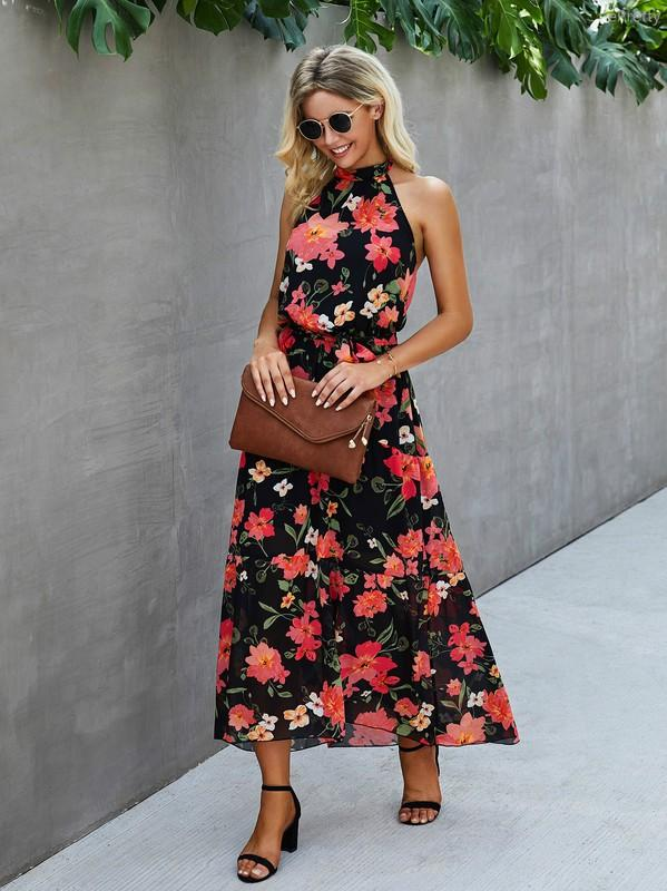Sleeveless Backless Halter Neck Floral Maxi Dress